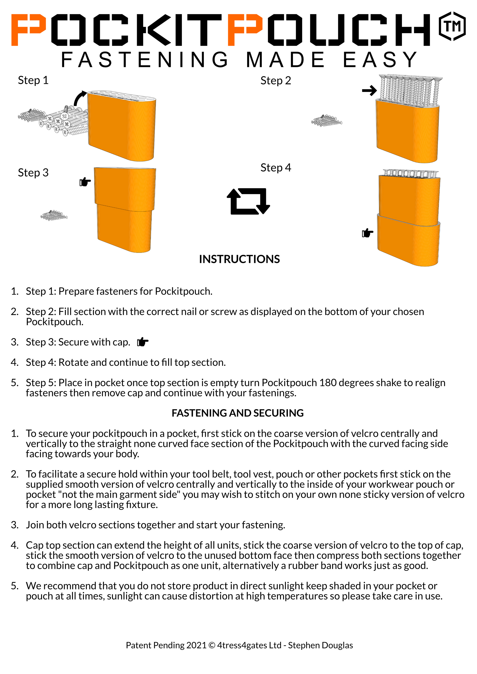Pockitpouch instructions and fastening options for nails and screws